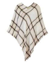 Le Nom Classic Plaid Check Pattern Poncho (Super Soft Plaid Brown) - $18.80