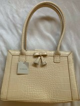 Liz Claiborne Antique White Beige Cream Faux Croc Style Purse Handles W Bow Nwt - $29.65