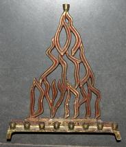 Judaica Menorah Hanukkah Vintage Israel Flame Nes Gadol Bronze Red Signed KL  image 6