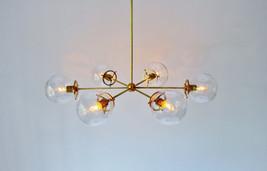 Mid Century Modern Brass Globe Chandelier - 6 Glass Globe Chandelier Light - £234.28 GBP