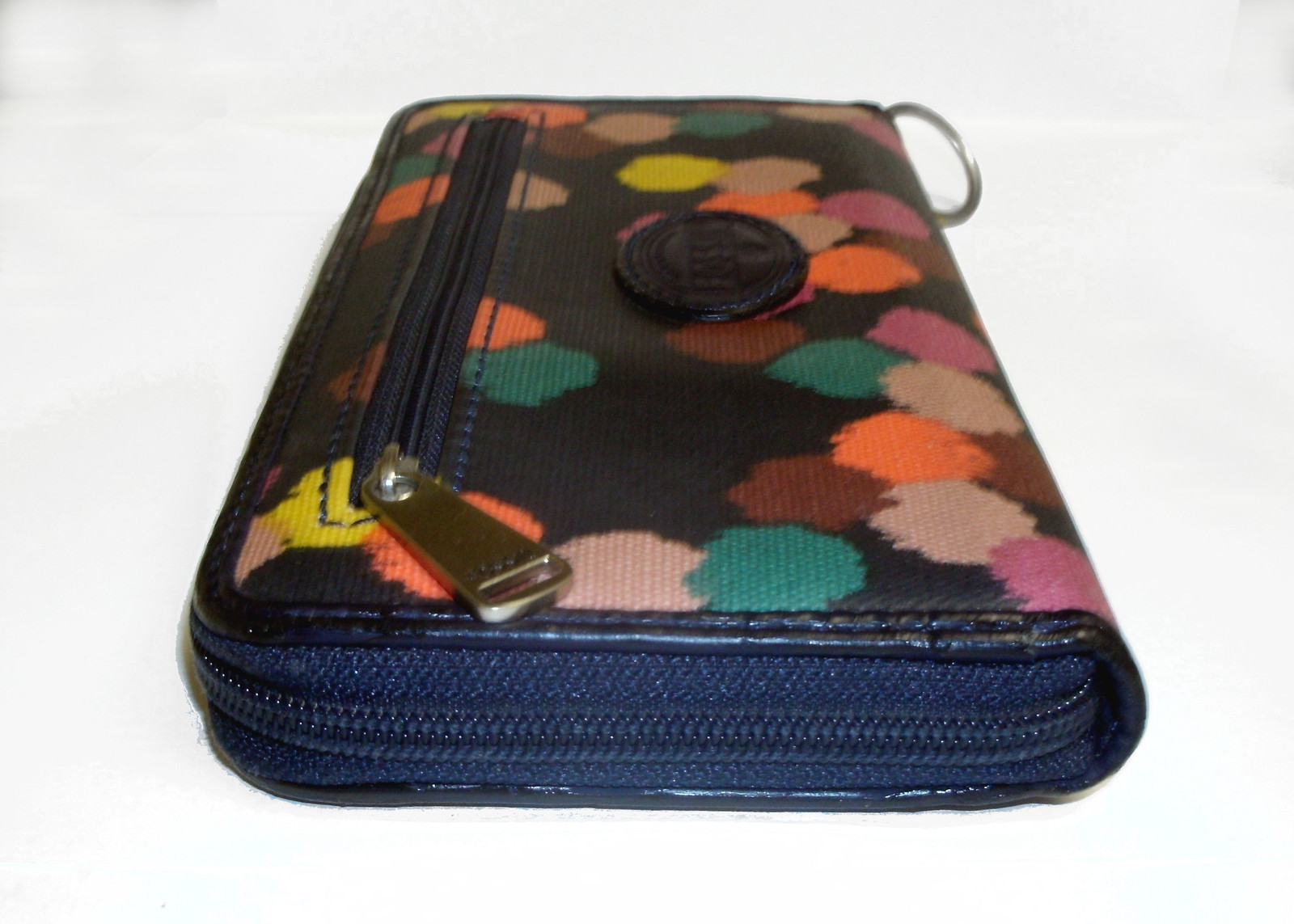 Fossil Coated Canvas Navy Ziparound Accordion Clutch Large Wallet image 4