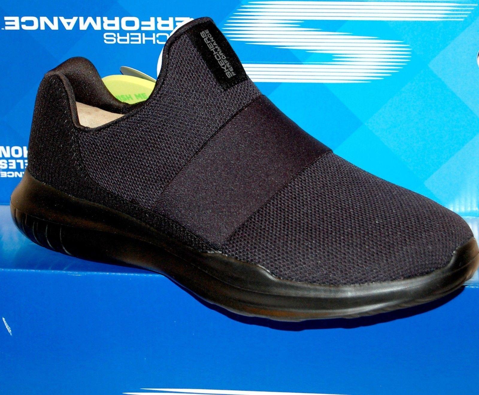 Skechers Go Run Mojo Mania Black Navy Men's  Slip Comfort Shoes Sneakers US 12