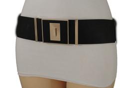 Women High Waist Hip Black Elastic Fashion Belt Square Gold Buckle Moder... - $19.59