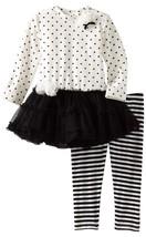 Kate Mack Baby Girls White Black Size 12 Months 2pc Dress & Leggings Out... - $33.66