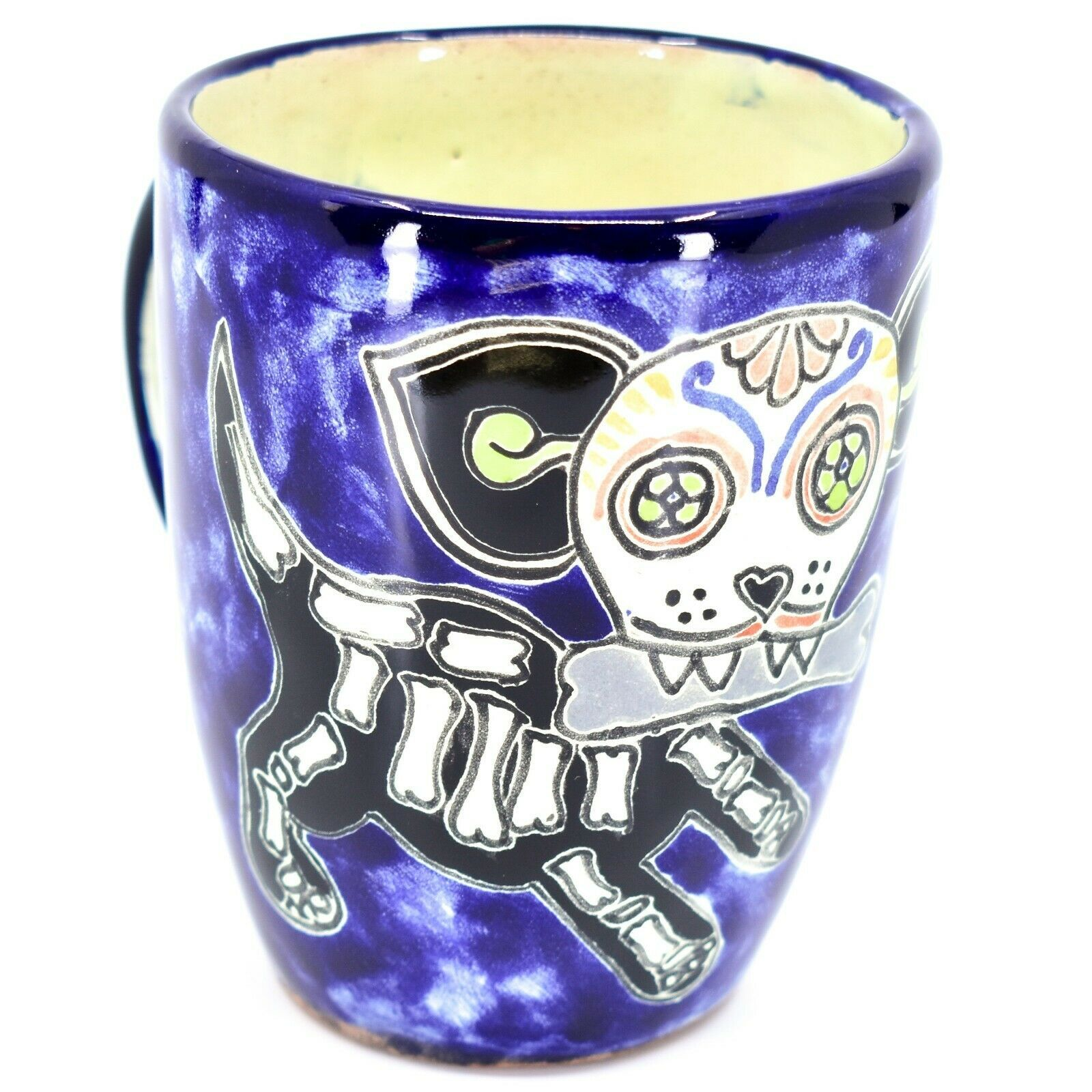 Hand Painted Contreras Talavera Day of the Dead Puppy Dog Coffee Tea Cup Mug
