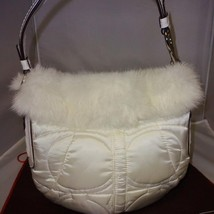 COACH Limited Edition WHITE Sateen Quilted Hobo Bag #3586 Rabbit Fur Trim - $51.30