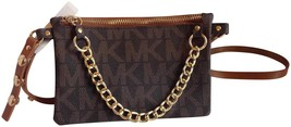 NEW MICHAEL KORS WOMEN'S  LEATHER PURSE BELT FANNY PACK BAG BROWN 554131 size XS