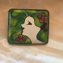 Estate Green Enamel Lady Head with Purple & Pink Flowers Square Silverto... - $12.19