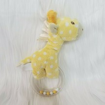 "7"" Giraffe Yellow Polka Dot Plush Rattle w Rings Sewn Face Baby Toy Love... - $9.97"