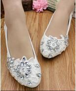 Women Ivory White Lace up Wedding Flats Shoes,Bridal Shoes US 4,5,6,7,8,... - £30.95 GBP