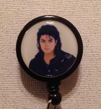 Michael Jackson Badge Reel Id Holder Black Alligator Clip Handmade New - $8.99
