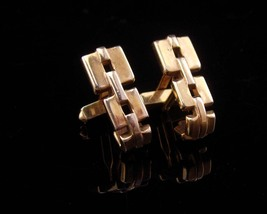 Vintage stirrup Cufflinks / cable link / Gold Signed Swank /  Fathers Day / Birt - $45.00