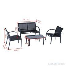 Luxury Garden Set 4pcs Contemporary Black Textilene Mesh Sofa Table 2 Chairs New image 7