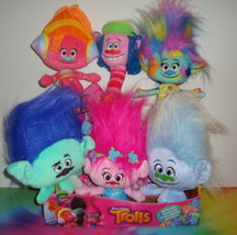 """ALL 6 TROLLS Hug N Plush 12""""Dolls Poppy Branch Harper Cooper Guy Diamond... - $119.99"""