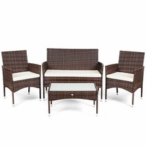 Rattan Patio Furniture Set Glass Top Table Cushioned Seat  - €225,32 EUR