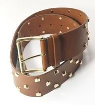 Michael Kors Gold Stud Wide Leather Belt, Medium 42, Luggage Brown - $45.00