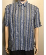 Men's Jhane Barnes Short Sleeve Button Front Casual Shirt Large Blue Tan... - $24.18