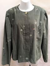 Leslie Fay 16P Jacket Green Faux Suede Floral Blazer Career - $21.54