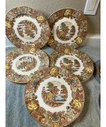 5)  NASCO  MOUNTAIN WOODLAND  DINNER  PLATES      JAPAN   FREE SHIP  VGC - $75.60