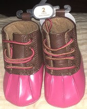 NWT Baby Deer Infant Girl's Hiking Pink/Brown Boots Size 2 - $343,97 MXN