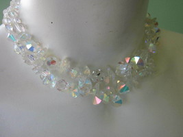 DOUBLE STRAND CRYSTAL BICONE ROUND BEAD CHOKER NECKLACE Needs Catch VINTAGE - $9.49