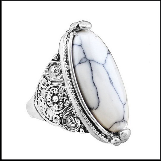 Marbled Oval White Howlite Natural Stone In Antiqued Flower Silver Plated Band