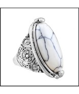 Marbled Oval White Howlite Natural Stone In Antiqued Flower Silver Plate... - $43.95