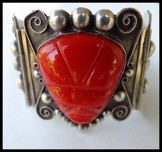 Mexican Sterling Silver Large Cuff Hinged Bracelet Carved Red Glass Azte... - $175.00