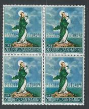 1966 Our Lady of Europe Block of 4 San Marino Stamps Catalog Number 653 MNH