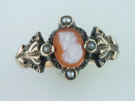 Vintage Antique Cameo 14K Yellow Gold Victorian Cocktail Ring - $282.15