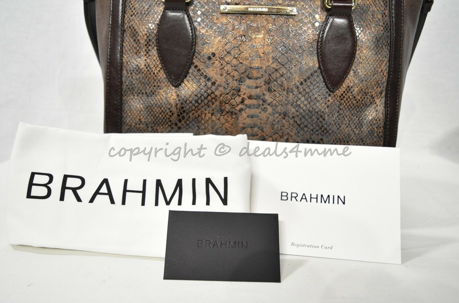 NWT Brahmin Small Lena Leather Satchel/Shoulder Bag in Brown Barrow image 11
