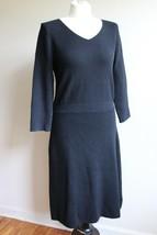 Talbots M Black Knit Midi Long Sleeve Back Exposed Zip Sweater Dress - $36.10