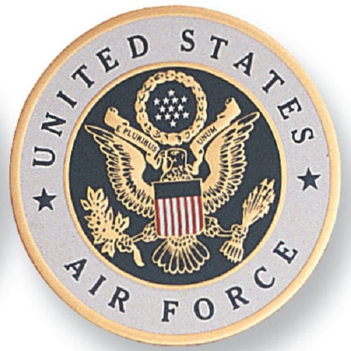 "Primary image for US Air Force Medallion - 2"" dia. Aluminium Disc, Embossed Litho Printed, Peel an"