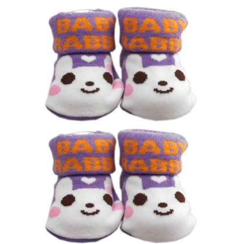 PURPLE Cotton Baby Newborn Shocks Infant Anti Skid Slip Toddler Shoes 2 Pack