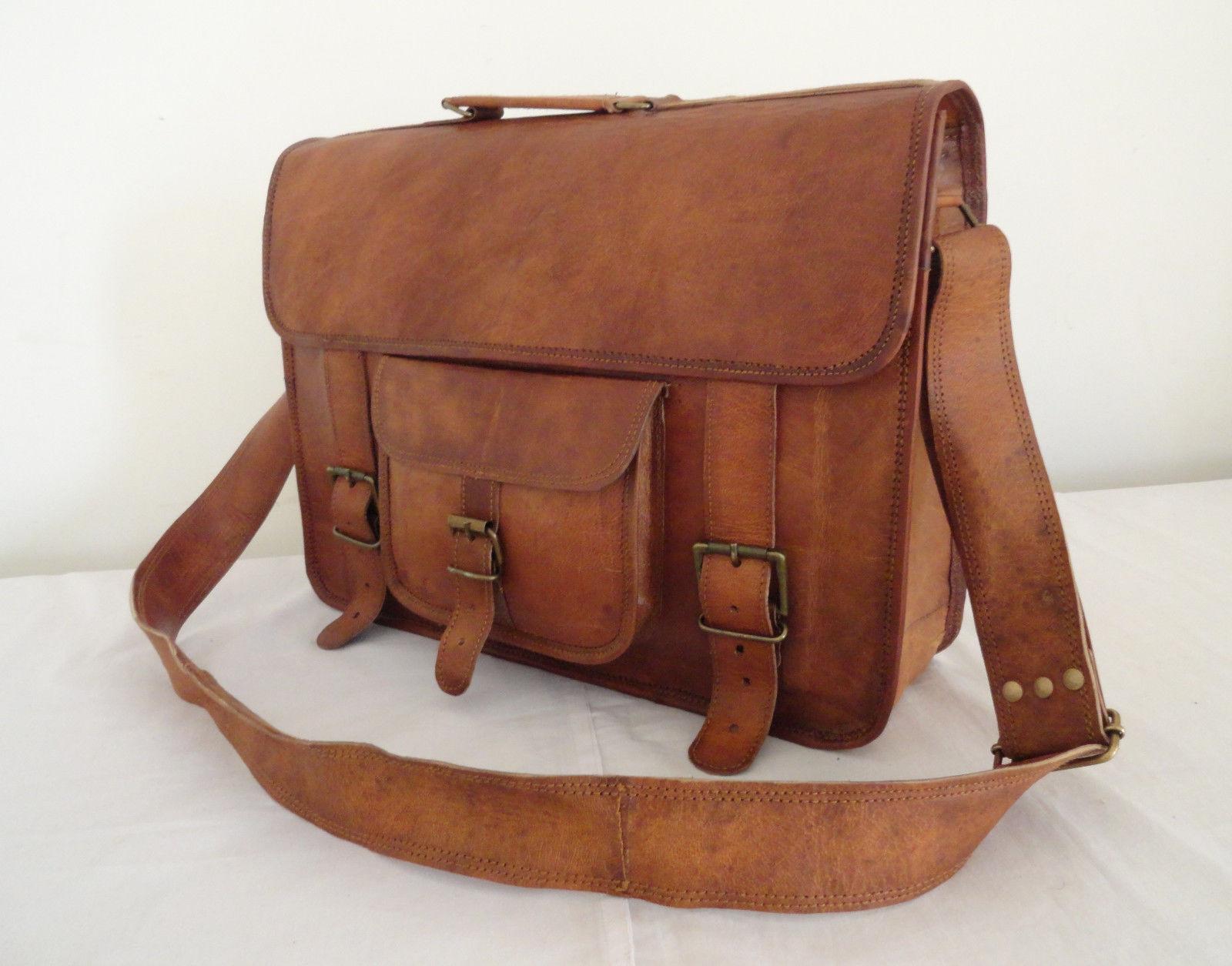 Goat Leather Laptop Bag Messenger Handmade Briefcase Crossbody Shoulder Bag