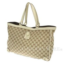 GUCCI Tote Bag Abbey Line GG Canvas Leather Beige Ivory 141472 Authentic... - $401.52