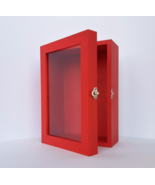 5x8 Red Deep Wooden Shadow Box Frame with Glass Door, Memory Box, Pictur... - $49.00