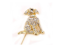 Goldtone Adorable Sitting Puppy Dog Brooch - $12.95