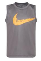 Nike Boys Dark Gray Logo Dri FIT Muscle Tee Shirt 86E888 New Size 4 - $14.84