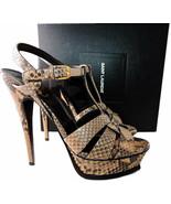 Yves Saint Laurent Snake Leather Tribute T-Strap Sandals Pumps Shoe 39.5 - $495.53