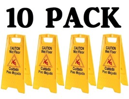 10 PACK CAUTION WET FLOOR SIGNS YELLOW TWO SIDED WARNING FOLD UP ANTI-SLIP  - $79.19