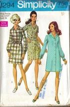 UNCUT Vintage 1969 Simplicity Pattern 8294 SHIRTDRESS, Sz 12 Petite - $10.99