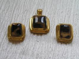 Estate Demi Brown & Black Lacey Animal Print Rectangle Pendant & Pierced... - $8.59