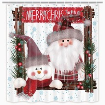 MERCHR Cute Christmas Shower Curtain Happy Snowman Santa Claus Blue Snow... - $46.01