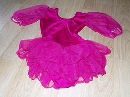 Child Size Large Solid Dark Pink Skirted Dance Skating Leotard GUC - $16.00
