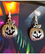 jacko lantern pumpkin earrings halloween tibetan silver antique look jew... - $2.50