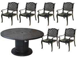 Propane fire pit table 7 pc Nassau patio dining set outdoor aluminum grills.  image 3