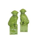 "Cute Lime Green Porcelain Foo Dog Figurine 11"" - $108.89"