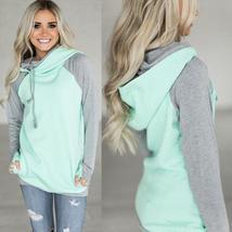 Elegant 2017 Autumn Hooeded Sweatshirt Women Patchwork Long Sleeve Pullo... - $28.84+