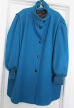 VTG ROAMAN'S Wool Blend Jacket Coat Dolman Ribbed Sleeve Dark Teal Blue ... - $39.95
